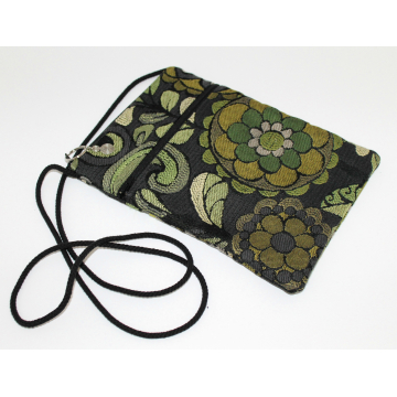 Maggie Bag in Black with Green Flowers